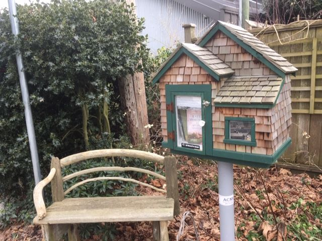 n image of a Free Little Library and a bench.