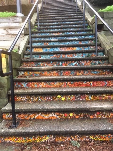Pretty mosaics on the stairs leading up from Marine Drive E. at Terry Parr Plaza.