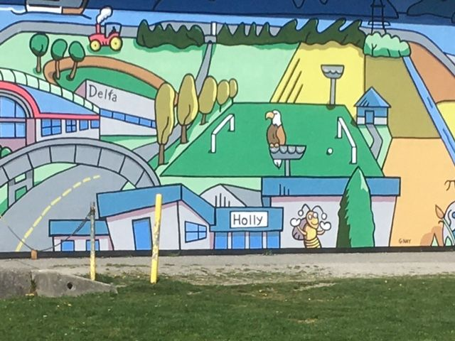 A large mural on Holly Park Elementary School..