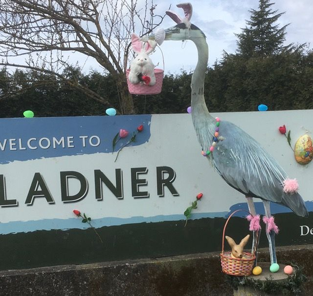 Welcome to Ladner Heron is decorated for Easter.