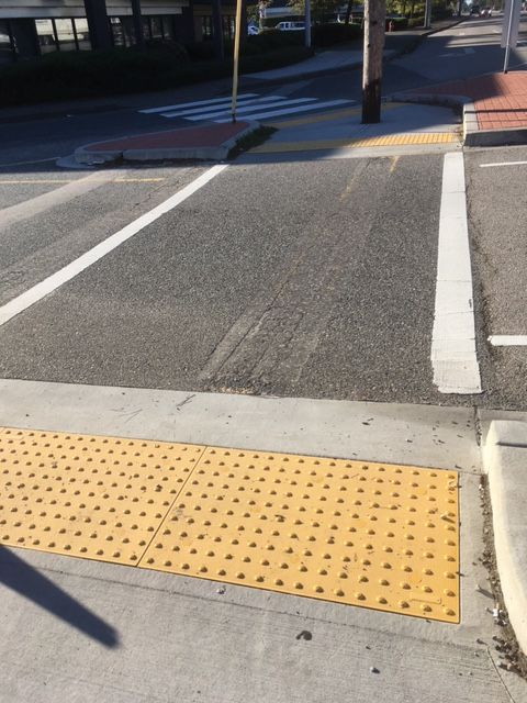 An example of a tactile paving, otherwise known as a detectable warning surface, for the visually impaired.