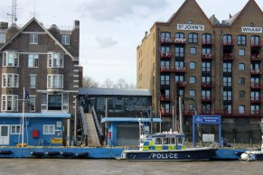 Metropolitan Police and St John's Wharf, near where The Orchard would have met Wapping High Street.