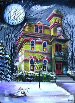 Winter Mansion by Moonlight 18x24 2008 AL