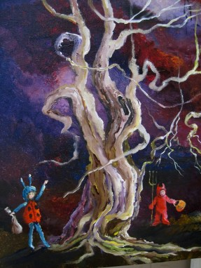for auntlizzy trick or treat in tangled tree forest old tree
