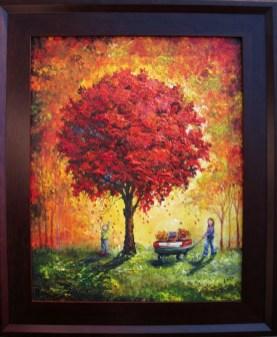 joy under the red tree 16x20 framed 2010 donation for matrix lifeline pregnancy center
