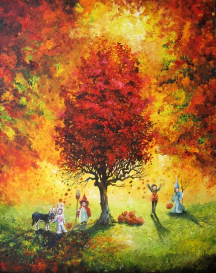 trick or treaters under the red tree 24x30 2010 exhibit