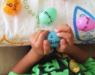 Once he was done reading all of the words I had him select his favorite on each egg.
