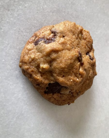crispy chocolate chip and oat cookie