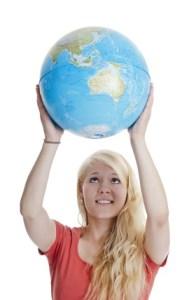 Au Pair holding globe