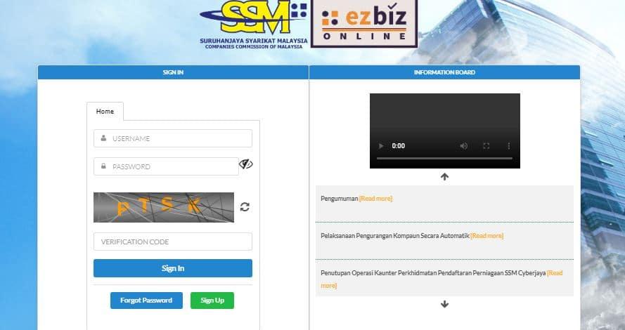 Cara Daftar & Renew SSM Online ezBiz SSM 2020