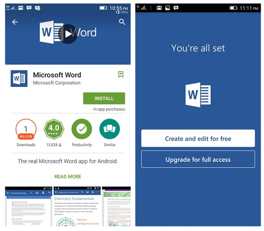 Mencoba Microsoft Word Preview For Android 1