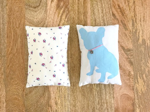 Frenchie Pillow screen printed by Karen Lewis of Karen Lewis Textiles