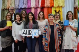 Pat, Alex, & Elena with some of the 2017 Aurifil Designers of the Month