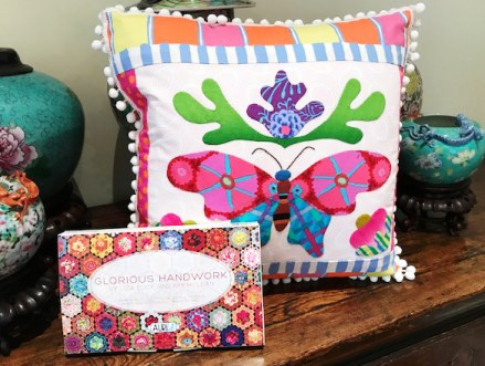 Butterfly Applique Pillow by Kim McLean