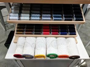 Stitched Aurifil Thread Weight Samples by Karen Miller of Redbird Quilt Co.
