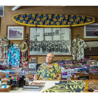 Walter Hoffman in his office - via @hoffmanfabrics