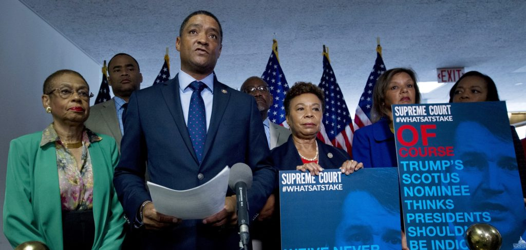 Chairman of the Congressional Black Caucus, Rep. Cedric Richmond, D-New Orleans, accompanied by other members, speaks to the media urging the Senate to reject the Supreme Court nominee Brett Kavanaugh, during his confirmation hearing on Capitol Hill, Thursday, Sept. 6, 2018, in Washington. (AP Photo/Jose Luis Magana)