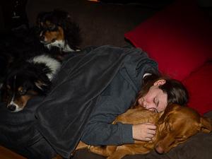 kid dogs sleeping