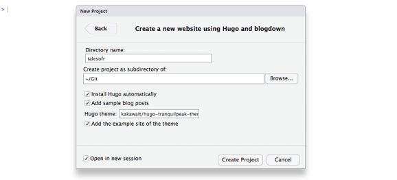 Selecting Hugo Blogdown theme