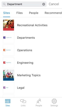 sharepoint site search mobile app