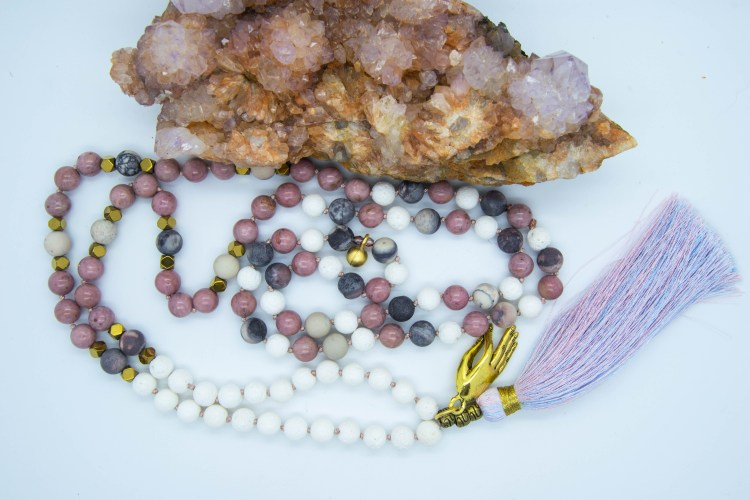 Gold Coloured Gyan Mudra Mala With Rhodonite, Porcelain Jasper & Coral