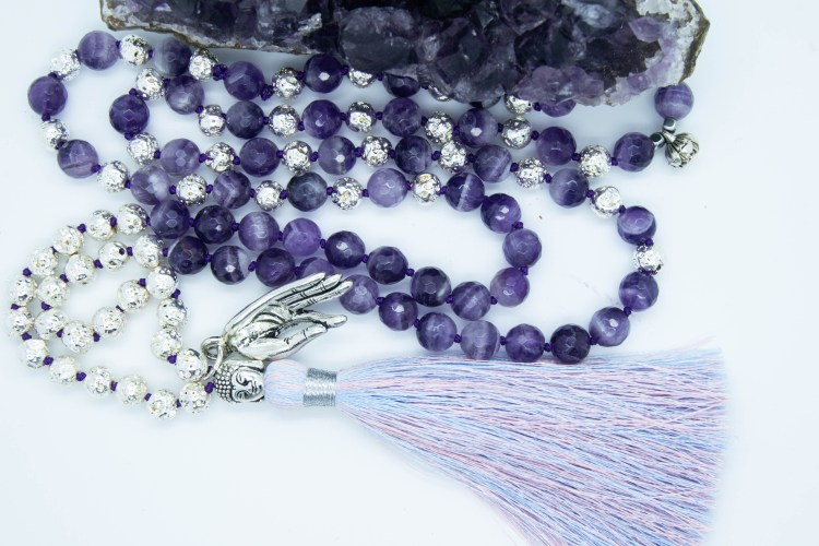 Silver coloured Gyan Mudra Mala With Amethyst, Electroplated Lava Rock