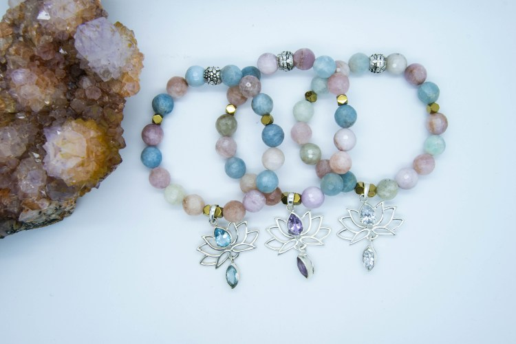 Lotus Charm Bracelets With Morganite