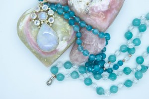 Moonstone Mala With Kyanite, Quartz and Amazonite