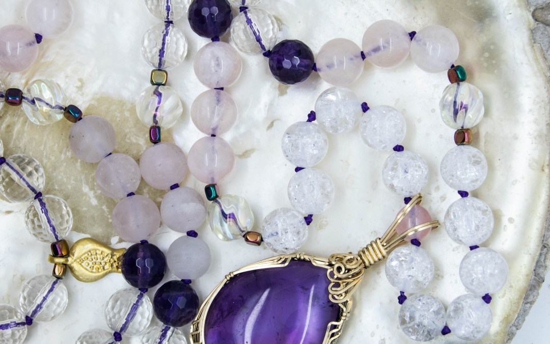 AMETHYST MALA WITH ROSE QUARTZ, CLEAR QUARTZ & POMEGRANATE CHARM