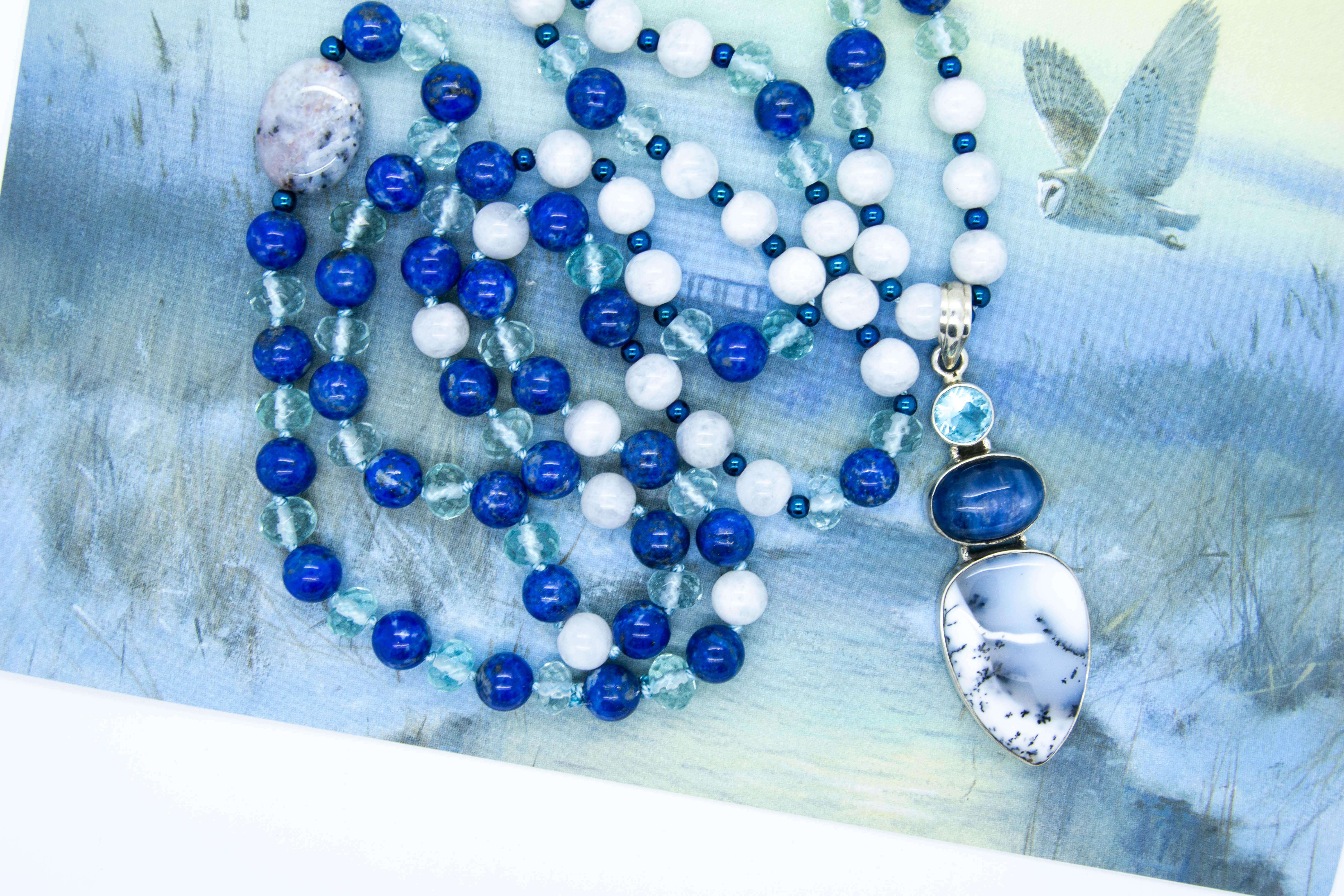 Merlinite Mala With Topaz, Kyanite, Lapis Lazuli, Moonstone, Agate & Seaglass