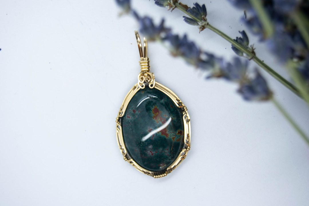 Beautiful Hand Wrapped  Bloodstone Pendant, The Ancient Healer