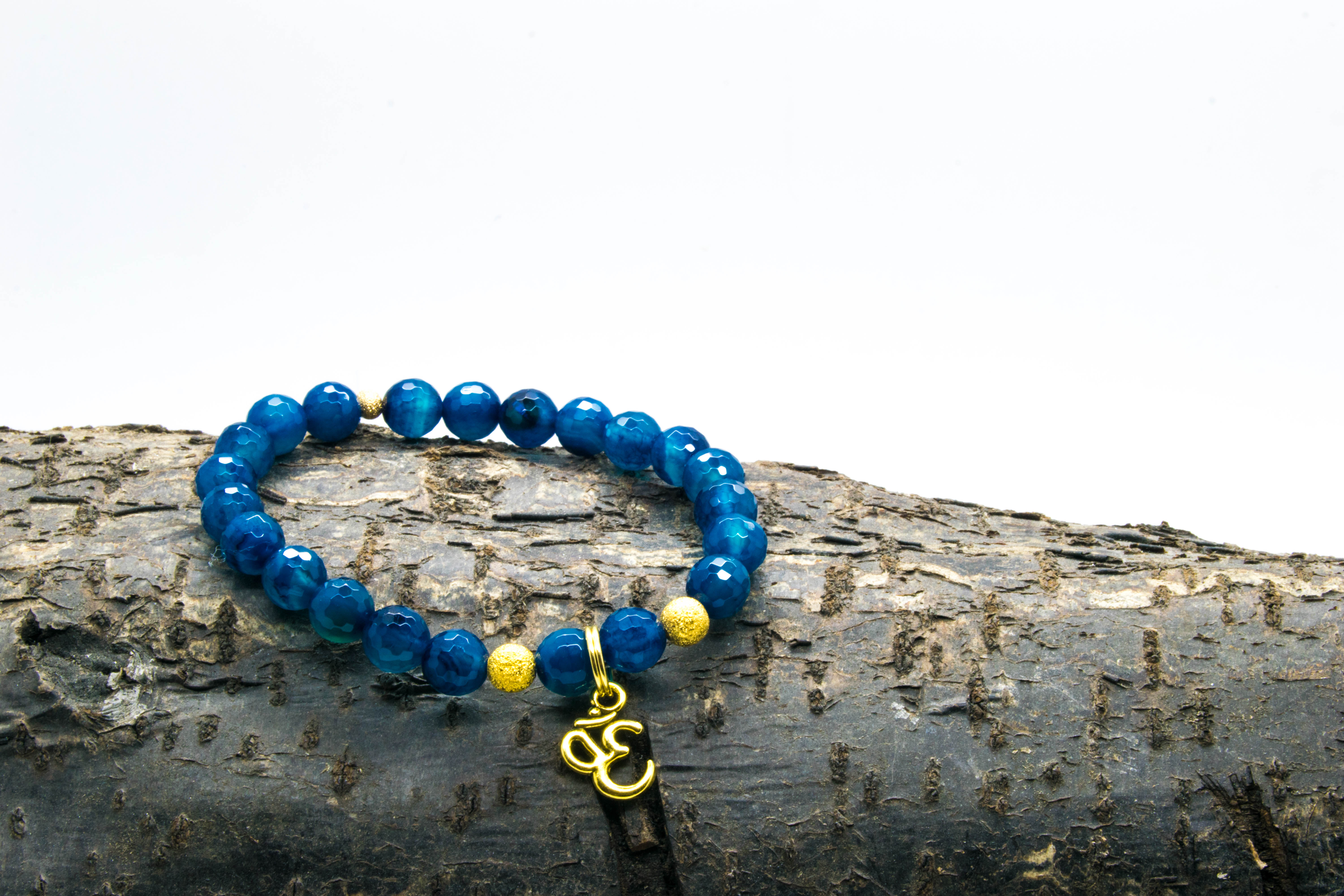 Blue Agate AUM or Om bracelet 'Shanti Range' – Throat, Solar Plexus & Crown Chakras