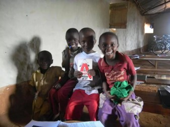Rwandan schoolchildren with Andy