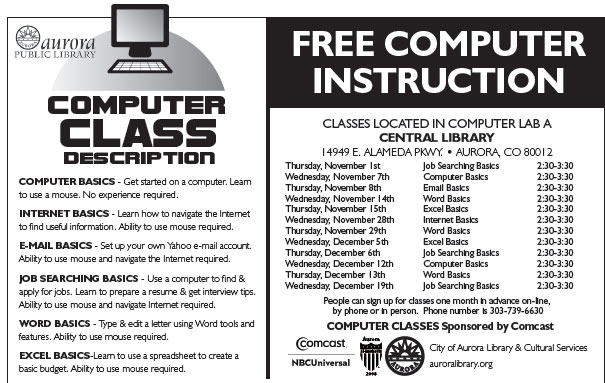 Free Computer Class Offered by Comcast