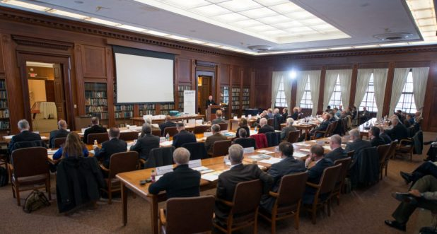 NEWPORT, R.I. (March 7, 2018) Rear Adm. Jeffrey A. Harley, president, U.S. Naval War College (NWC), welcomes attendees of