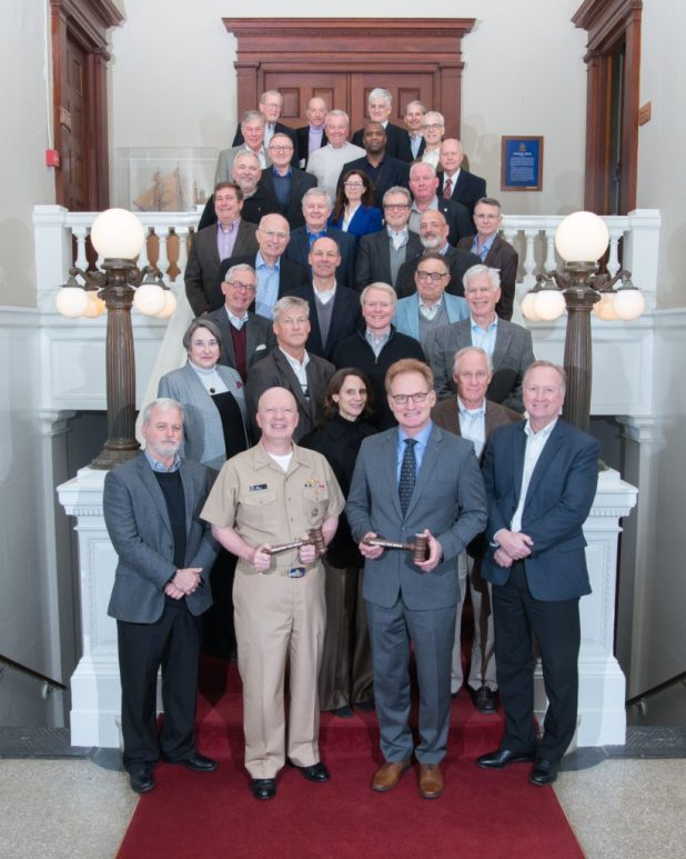 NEWPORT, R.I. (March 7, 2018) Thomas B. Modly, 33rd under secretary of the Navy, and Rear Adm. Jeffrey A. Harley, president, U.S. Naval War College (NWC), pose for a group photo with attendees of the