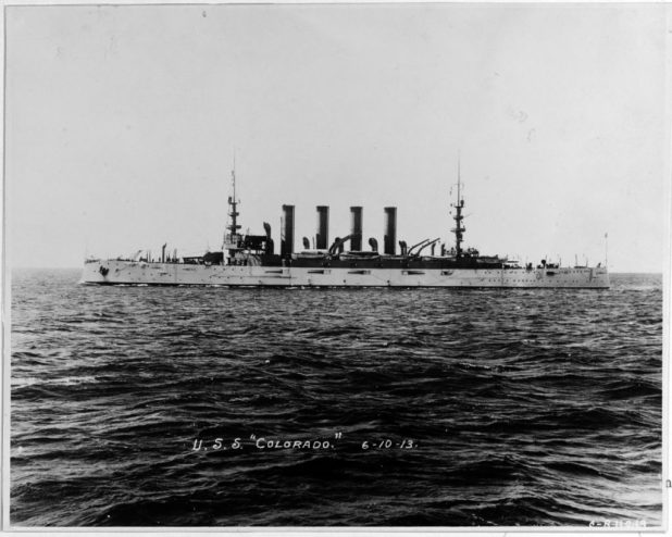 An undated photo of USS Colorado (BB 45), circa 1906. (U.S. Navy photo/Released)