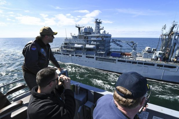 BALTIC SEA (June 5, 2018) The Blue Ridge-class command and control ship USS Mount Whitney (LCC 20) approaches the German Berlin-class replenishment ship FGS Frankfurt A.M. (A1412) for a replenishment-at-sea in the Baltic Sea during exercise Baltic Operations (BALTOPS) 2018. (U.S. Navy photo by Mass Communication Specialist 1st Class Justin Stumberg/ Released)