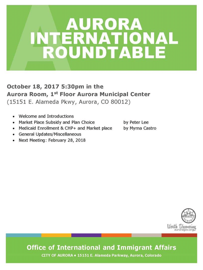 Aurora International Roundtable Meeting – Aurora Colorado
