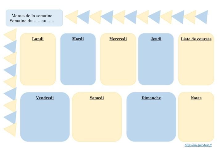 Organisation : Planning des menus de la semaine en bleu et jaune