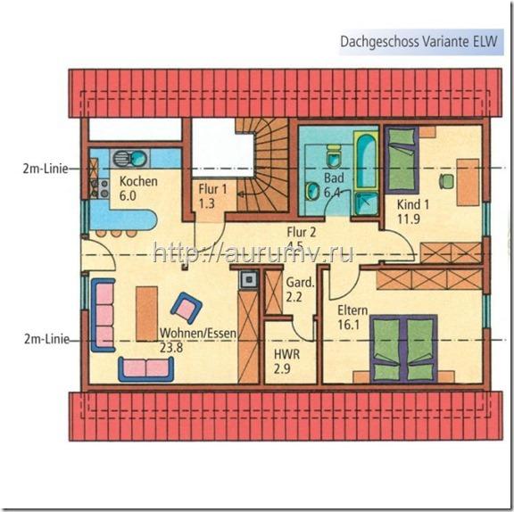 дом семейный поэтажный план вариант1 этаж2
