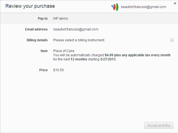 Google Wallet for Packaged Apps