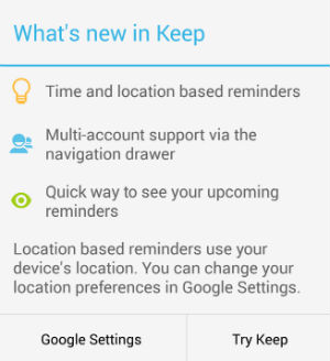 Google Keep - New prompt