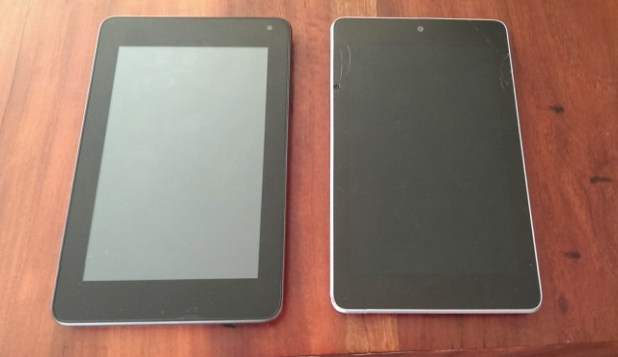 The Sero 7 Pro (left) next to ol' reliable, the Nexus 7 (right)