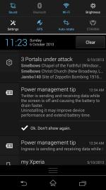 Power management tip notifications