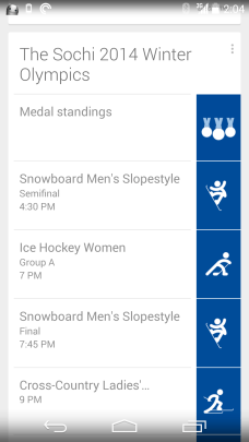 Sochi 2014 Google Now 1