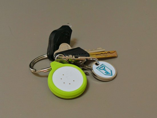 The rubber surround for attaching TinyFinder to your keyring doesn't give it much room to move.