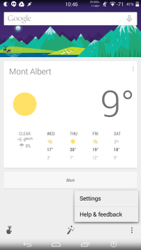 Google Now Menu