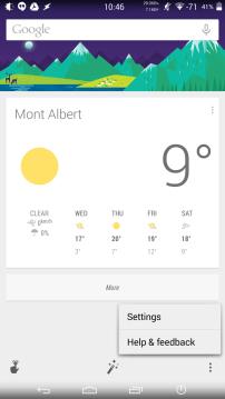 Google Now Menu