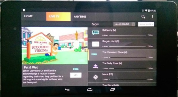 Foxtel Go on Nexus 7